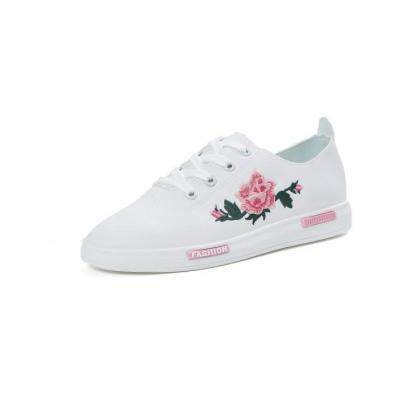 Floral Embroidered White Faux Leath..