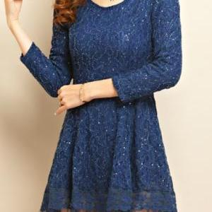 High Quality Woman Pretty Round Neck Long Sleeve Dress - Dark Blue 0OOOISFUNUAOHLBPSWKSJ