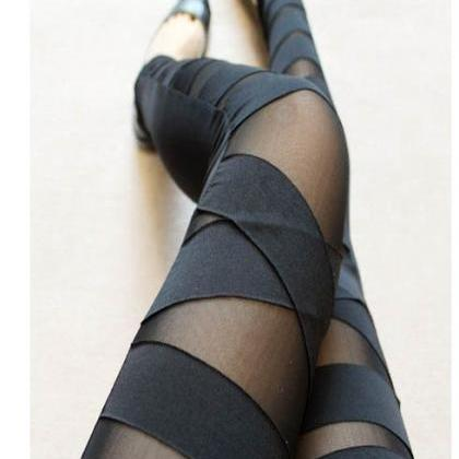 Fashion Black Hollow Out Strap Mesh..
