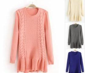 High Quality Twist Pattern Falbala Hem Slim Fit Pullover Woolen Sweater For Woman 6SWL4HWG36BQPH1SVCU3K