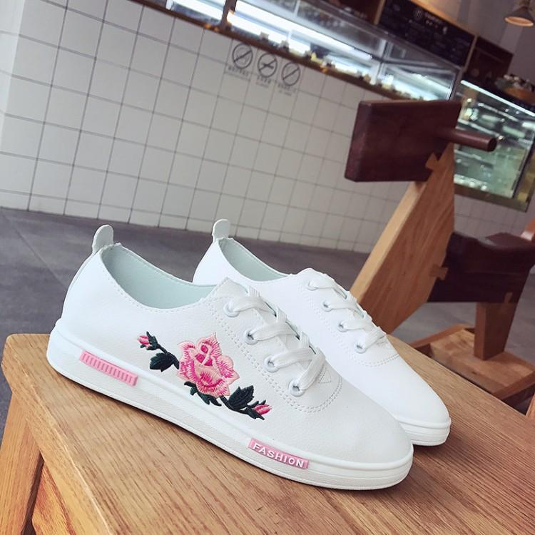 Floral Embroidered White Faux Leather Sneakers