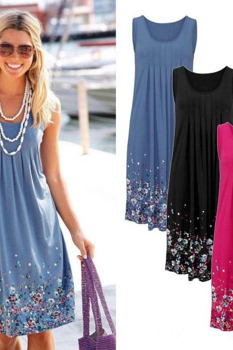 Women Summer Casual Party Loose Floral Printing Sleeveless Beach Dress