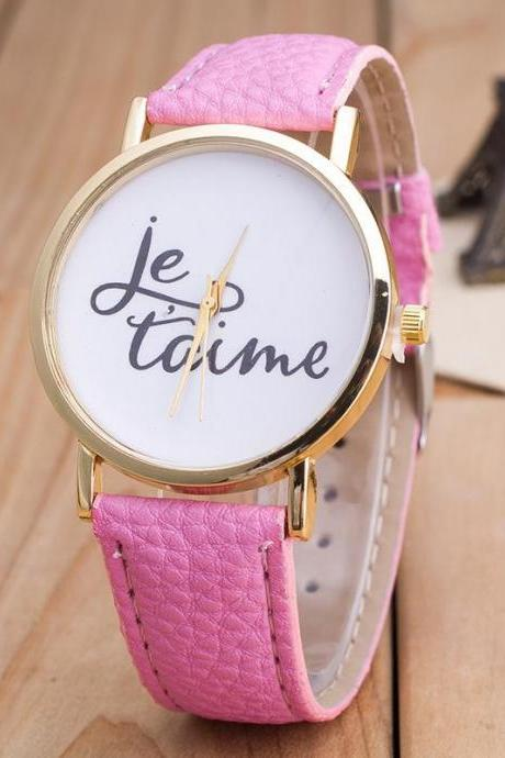 Fashion Letter Print PU Strap Watch