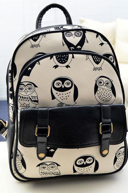 Unique Leisure Fresh Owl Printed Cartoon School Backpack
