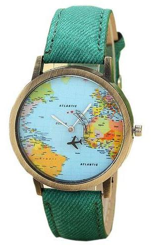 World Map Plane Trip Pu Leather Green Band Watch
