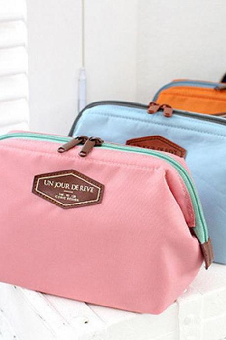 Cosmetic Bag Women Pure Color Cotton Zipper 3 Pieces