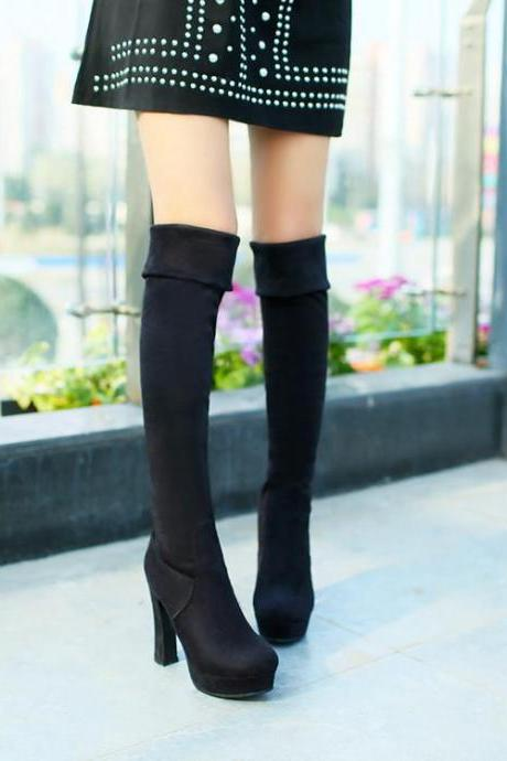 Over Knee Boots Women Pure Color Suede Thin High Heel
