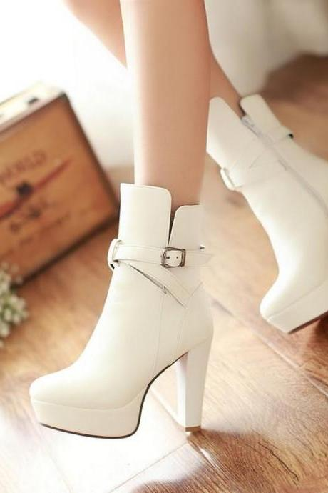 Ankle Boots Women Pure Color Leather High Heel