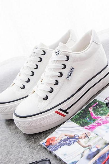 White Sneaker Women Hidden Heel Casual Lace Up