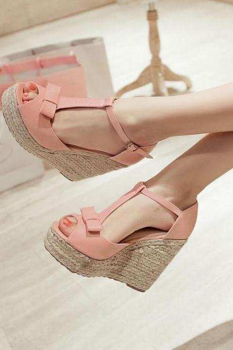 Sandals Women Wedges Platform T-strap Bow