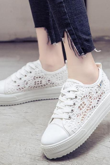 Sneakers Women Lace Canvas Hollow Floral Breathable Flat