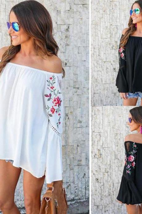Floral Embroidered Off-The-Shoulder Long Flared Sleeves Blouse