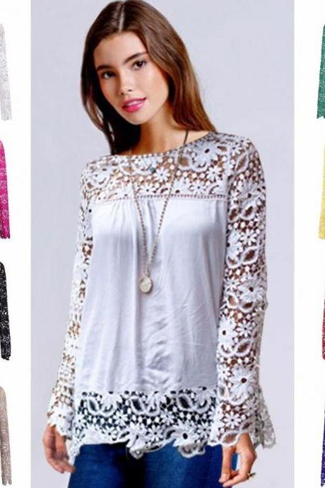 Lace Tops Chiffon Shirt Womens Ladies Long Sleeve Embroidery Blouse