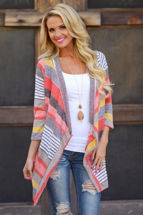 Womens Fashion Autumn Striped Patch Cape