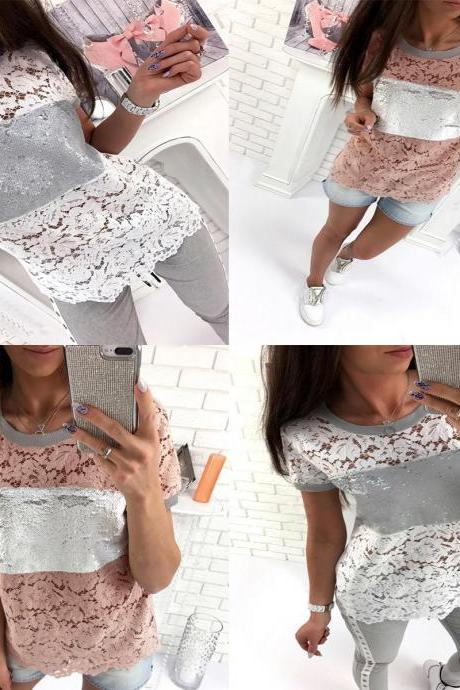 Womens Pure Color Autumn Long Sleeve Lace Patch Floral Loose Shirt
