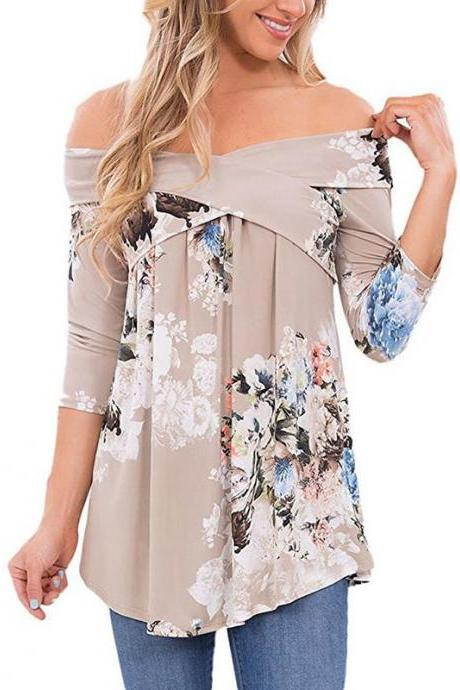Womens Off Shoulder Floral Printed Long Sleeve Loose Blouse
