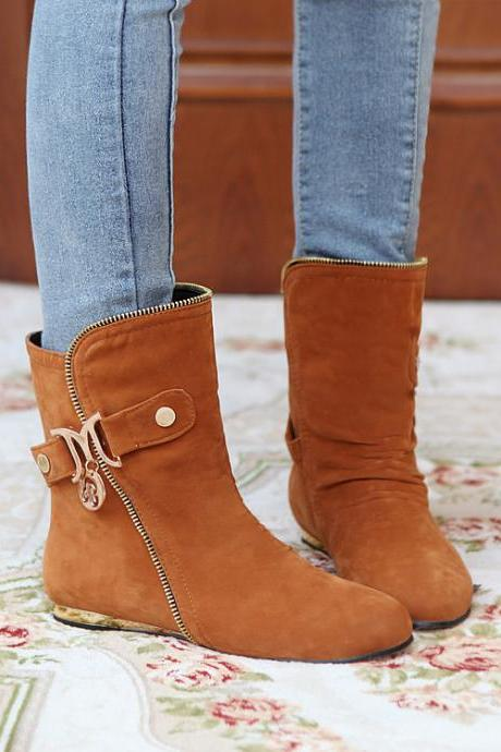 Women's Pure Color Flat Heel Suede With Side Zippers Band Boots