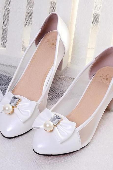Women's Pure Color Thick Heel Low Heel Bowknot Pumps