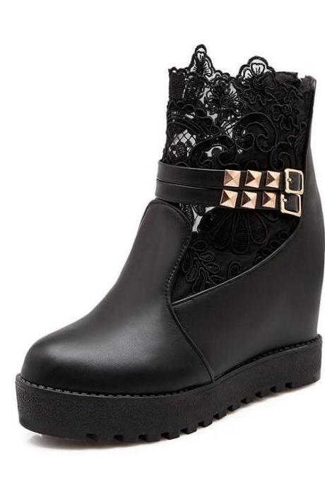 Women's Pure Color Inside Heighten Fake Diamond Lace Boots
