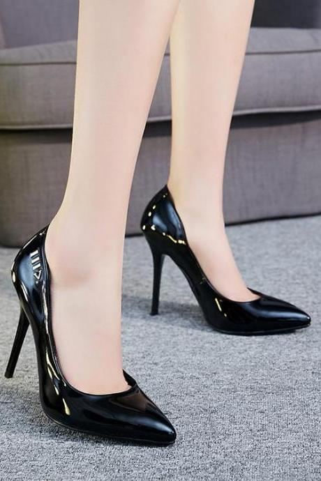Women's Pure Color High Heel Thin Heel Metal Decoration Pumps