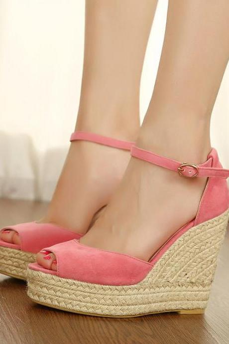Women's Pure Color High Heel Wedge Heel Suede Band Pumps