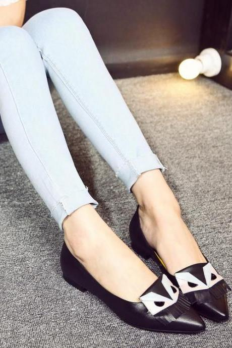 Women's Pointed Toe Flats Colour-matching Ballerina