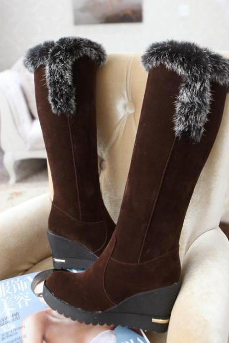 Women's Pure Color Wedge Heel Boots With Zippers