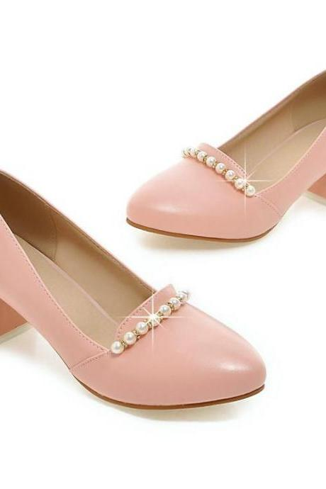 Rounded Toe Slip On Pumps with Low Chunky Heel and Pearl Embellishments