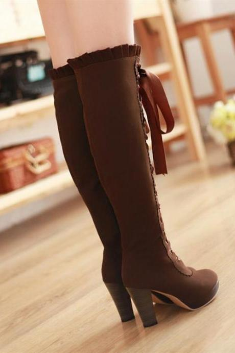 Women's Winter Pure Color Front-tied High Boot With Thick Heel