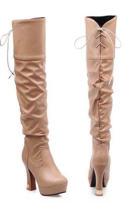 Thicked Heeled Knee-high Boots with Ruched and Lace-up Detail