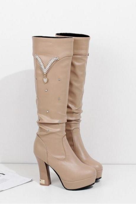 Women's Pure Color Fashion Classical Thick-soled Thick-heeled Boot With Metal Decoration