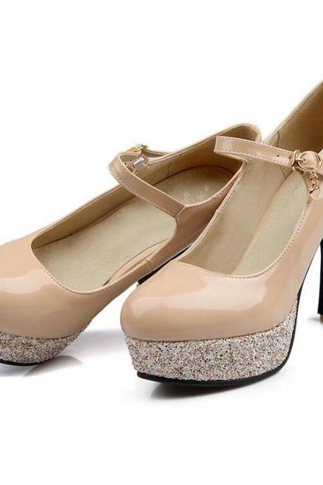Women's Pure Color Sweet Fashion Leasure Thick-soled Pumps