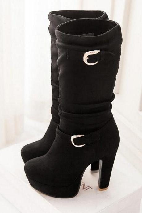 Women's Sexy Pure Color Thick-soled Fashion Boot
