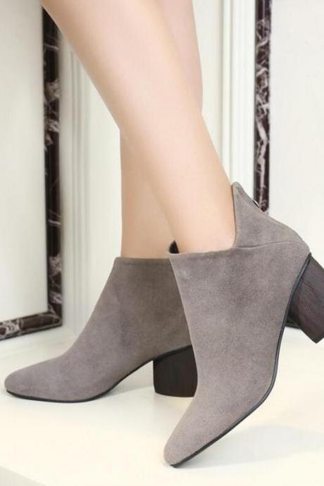 Stacked Heel Suede Ankle Boots with Side Notch