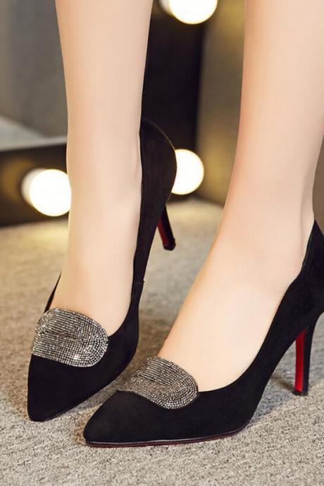 Women's Fashion Sexy Pure Color Pointed Toe High Heel Shoes With Rhinestone