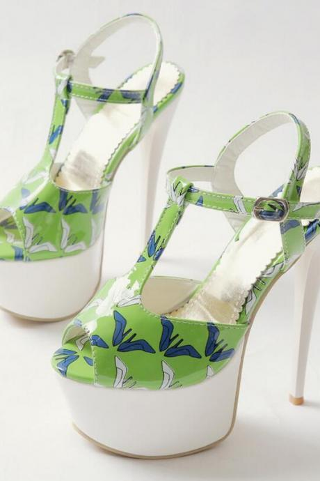 Sandal Heels Women Quality Printing Solid Fish Mouth