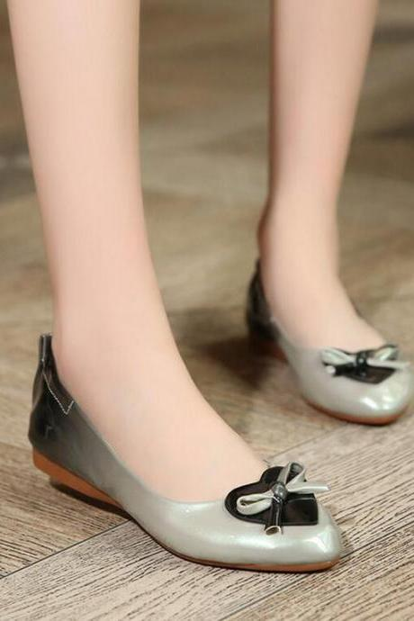 Ballet Flats Women Summer Fashion Heart-shaped Bow Tie Pure Color Quality