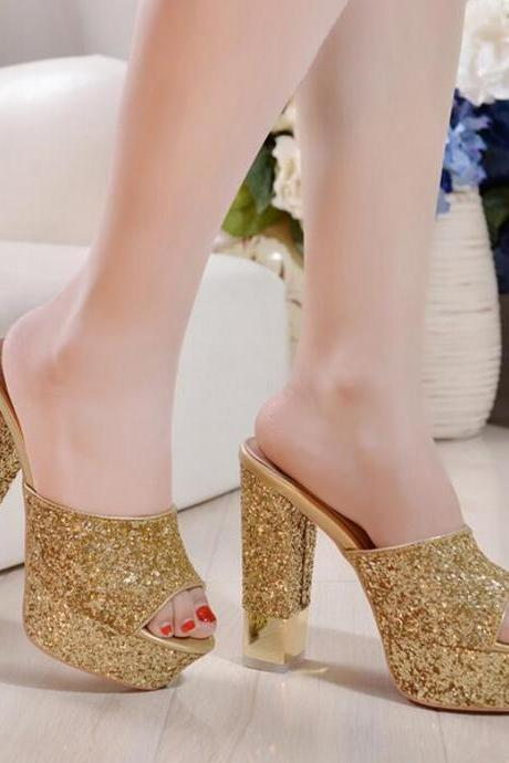 Sandals Heels Women Sexy Sequins Platform Thick High Heel Solid Peep Toe Slippers