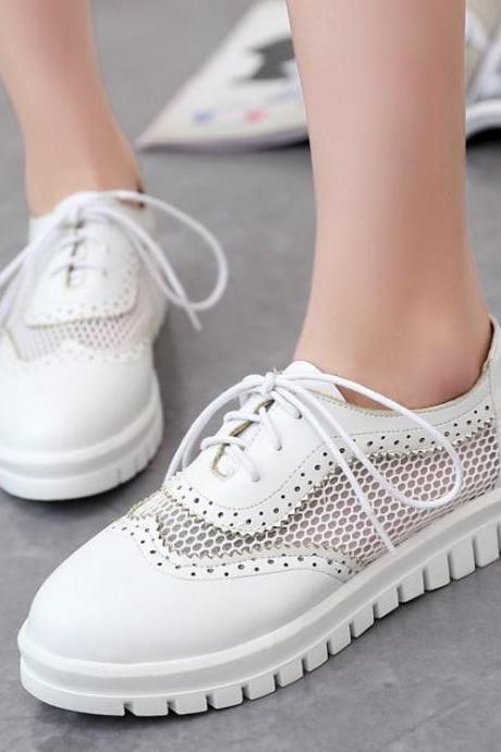 Sneakers Women's Fashion Mesh Casual Flat Mixed Colors Round Toe