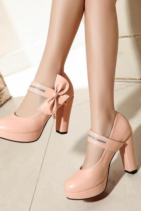 Pumps Women College Style Bow Beaded Solid Round Toe Thick Heels