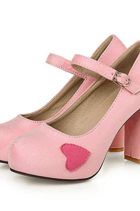 Rounded Toe Chunky High Heel Pumps with Heart Applique