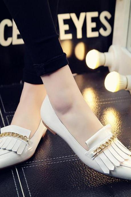 Womens Tassel Matal Chain Solid Pointy Toe Ballerina