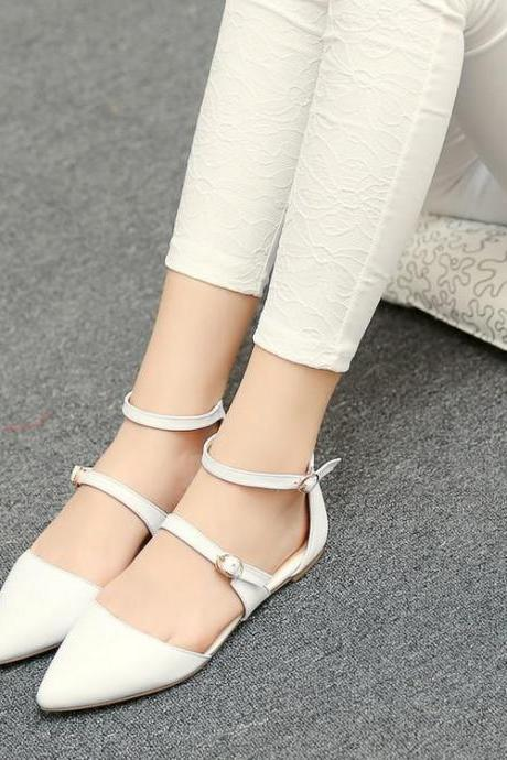 Pointed-Toe Dual Strap Ballerina Flat Shoes
