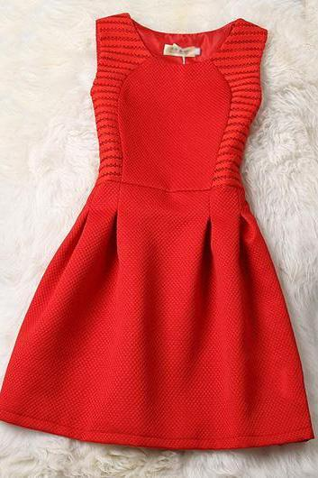 Hollow Out Red Sleeveless Round Neck A Line Dress