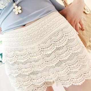 Elasticated Waistband High Waist Crochet Lace Short Pants Trousers
