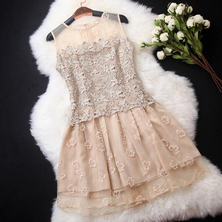 Fashion Elegant Organza Lace Dress - Golden SY1J3128B4ACPFIVIU1YA