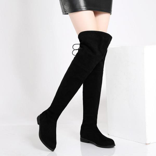 Women's Flats Pure Color Round Toe Black Boots