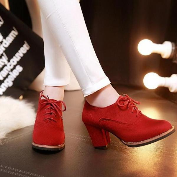 Pumps Heels Women Fashion Lace Up Thick Heel Solid Round Toe Richelieu